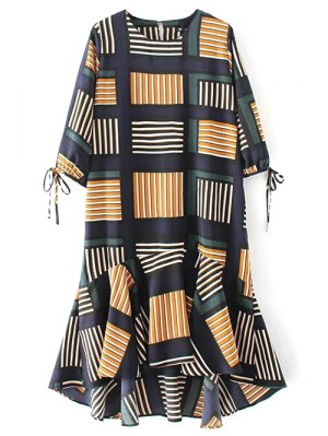 Plaid High Low Ruffles Midi Dress With Sleeves