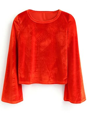 Pleuche Flare Sleeve Cropped Tee - Red
