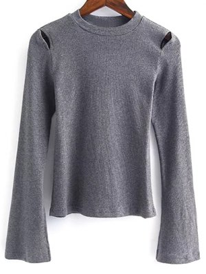 Flare Sleeve Cut Out Ribbed Knitwear - Gray