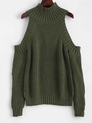 Cold Shoulder Funnel Collar Jumper - Blackish Green