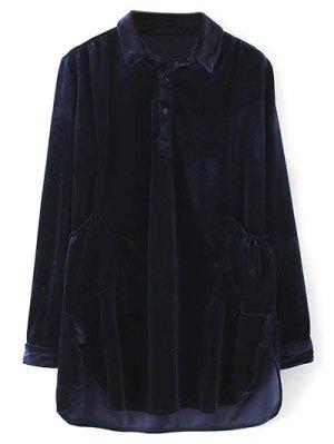 Mini Velvet Tunic Dress - Purplish Blue