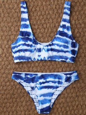U Neck Tie Dyed Cute Bathing Suit - Blue And White