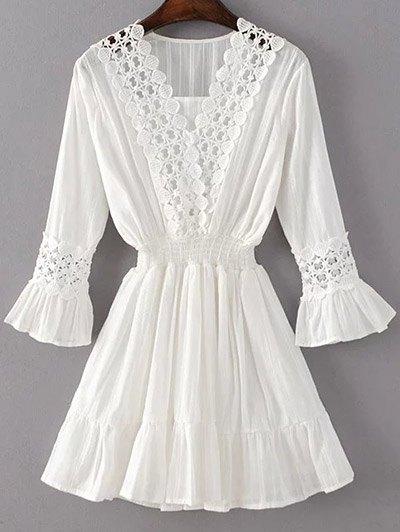 Lacework Shirred Dress