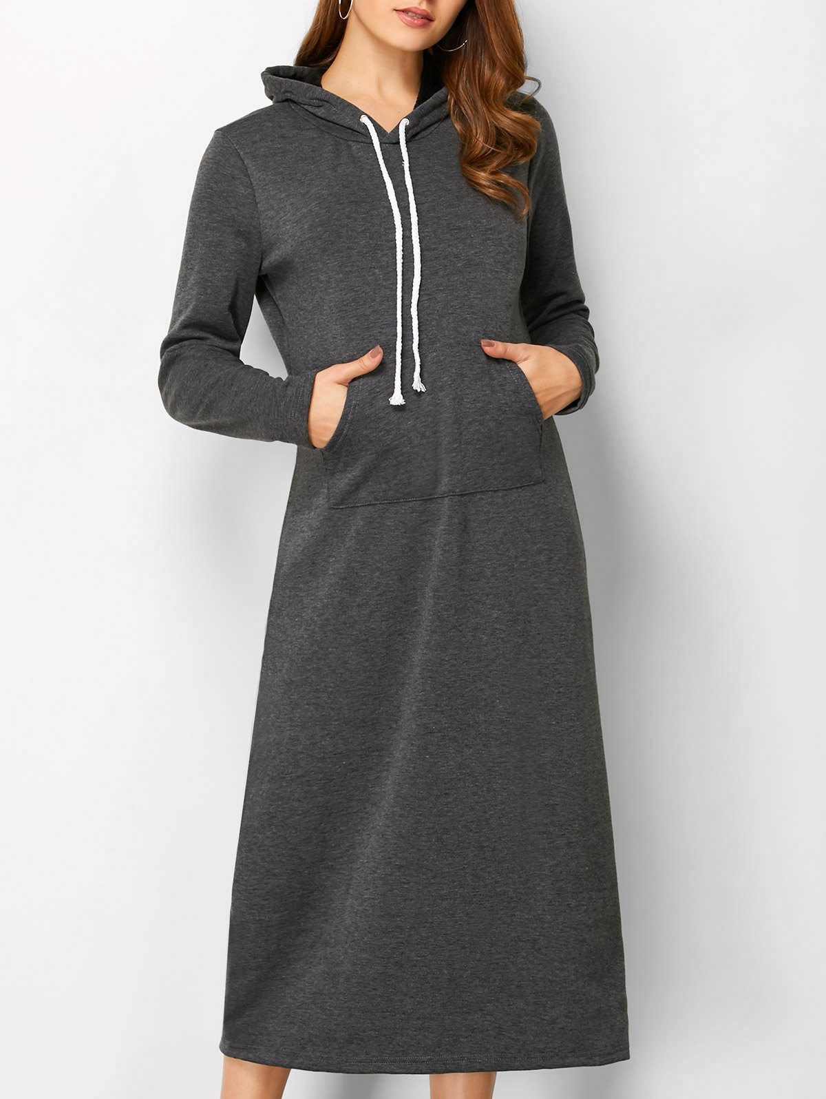 Hooded Casual Long Sleeve Straight Dress