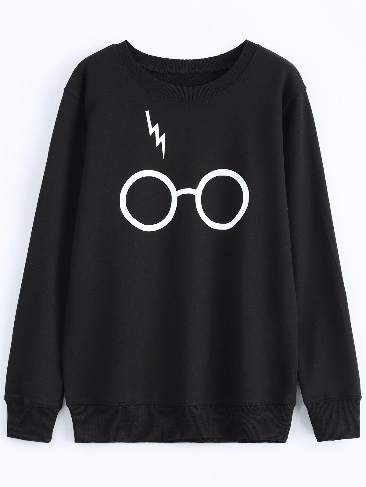 Streetwear Jewel Neck Glasses Pattern Sweatshirt