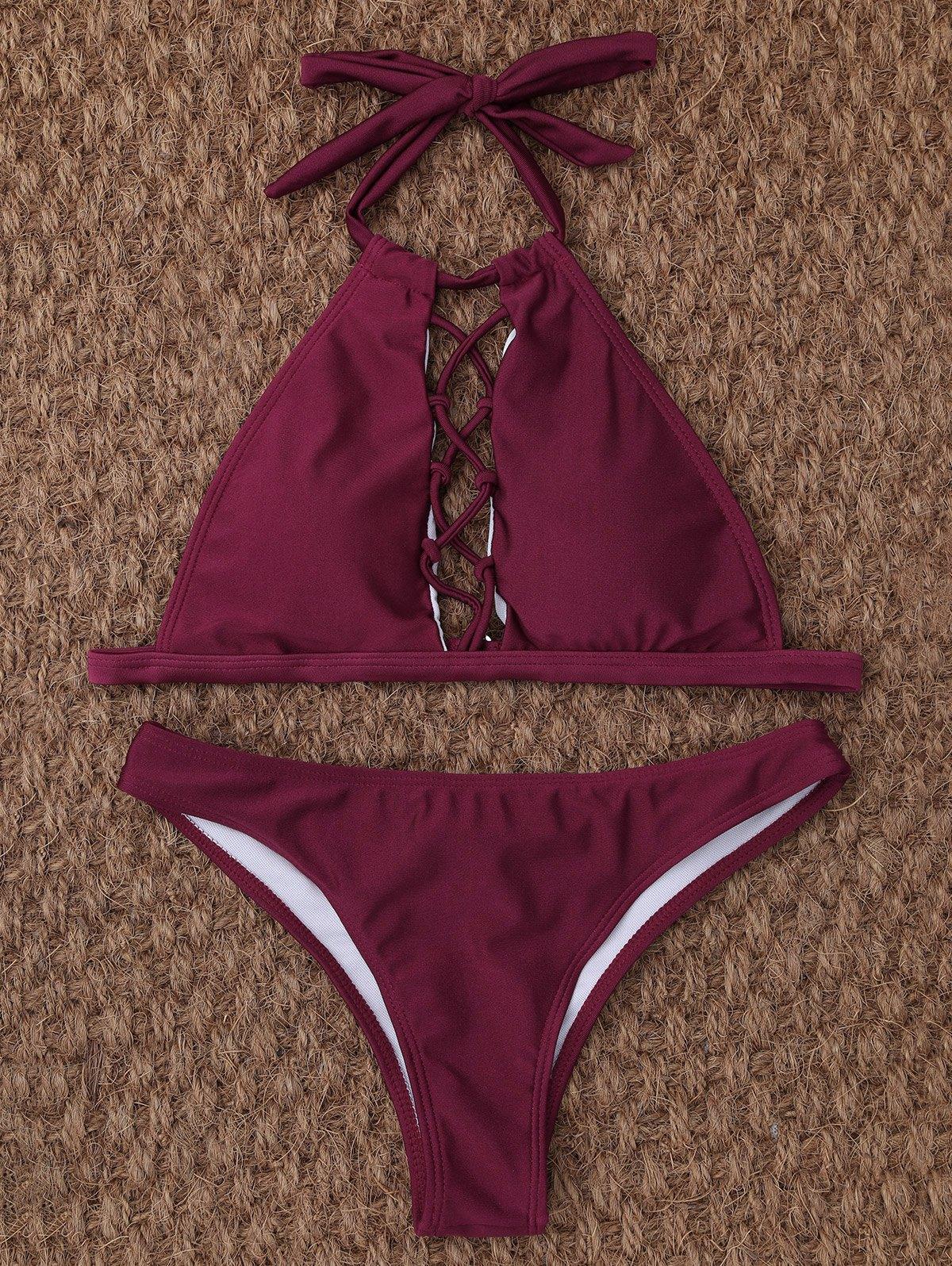 Cut Out High Neck Halter Bikini
