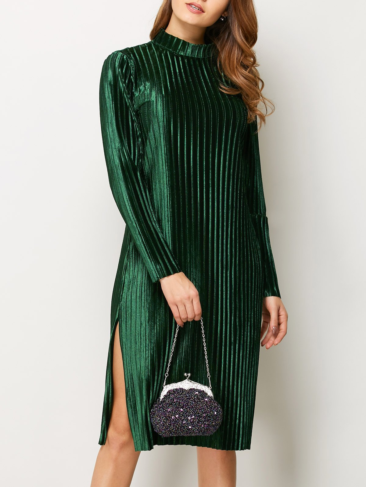 Stand Neck Long Sleeve Pleated Pleuche Dress
