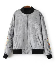 Velvet Embroidered Padded Jacket - Light Gray S