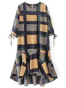 Plaid High Low Ruffles Midi Dress With Sleeves