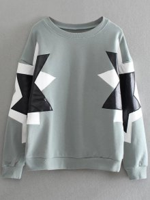 PU Leather Pentagram Pattern Sweatshirt
