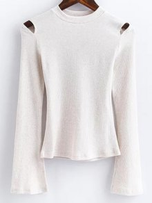 Flare Sleeve Cut Out Ribbed Knitwear - White S