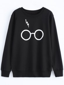 Streetwear Glasses Pattern Sweatshirt - Black