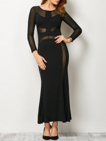 See Thru Mesh Panel Bandage Maxi Dress