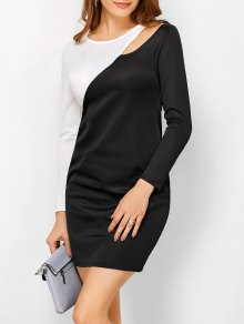 Color Block Cutout Sheath Dress - White And Black S