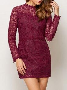Lace Ruff Collar Mini Dress