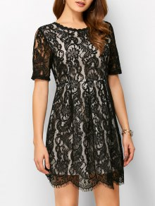 A Line V Back Lace Dress - Black