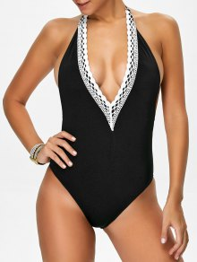 Backless Plunge Neck Lacework Swimwear