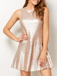Sequined Cut Out Jewel Neck Dress - Beige