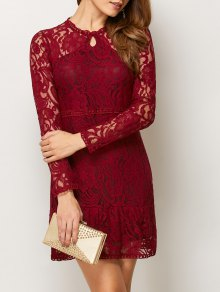 Openwork Long Sleeve Lace Mini Dress