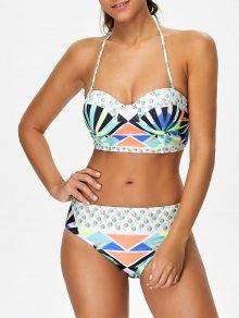 Geometric Lace-Up Bikini Set