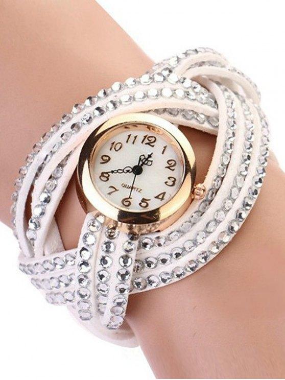 Rhinestone Number Twist Bracelet Watch - WHITE  Mobile
