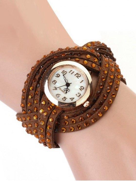 Rhinestone Number Twist Bracelet Watch - BROWN  Mobile