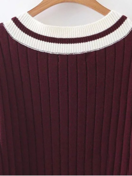 Straight Midi Jumper Dress - BURGUNDY ONE SIZE Mobile