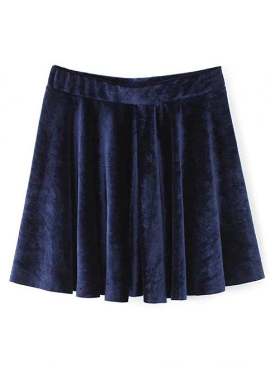 Velvet A Line Mini Skirt - PURPLISH BLUE S Mobile