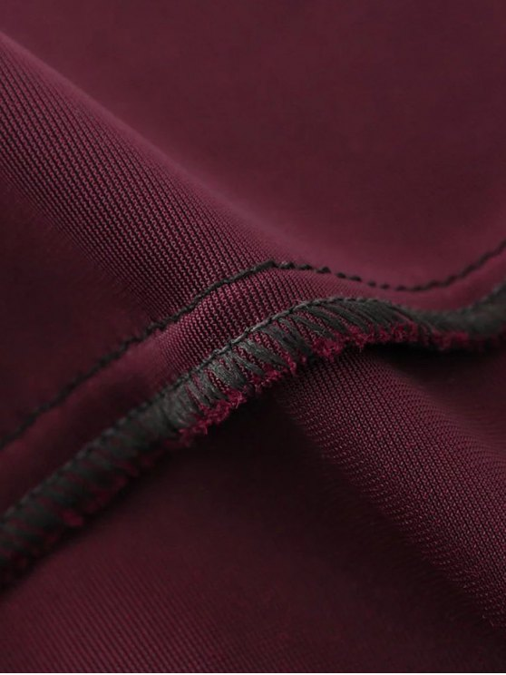 Velvet A Line Mini Skirt - BURGUNDY L Mobile