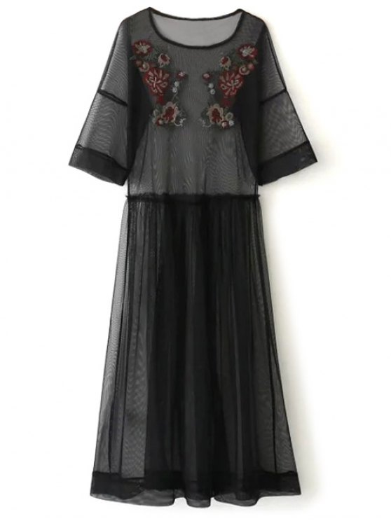See Thru Tulle Embroidered Maxi Dress - BLACK M Mobile