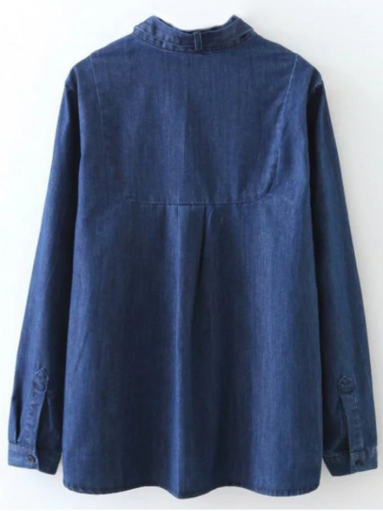 Tie Neck Denim Blouse - DENIM BLUE S Mobile