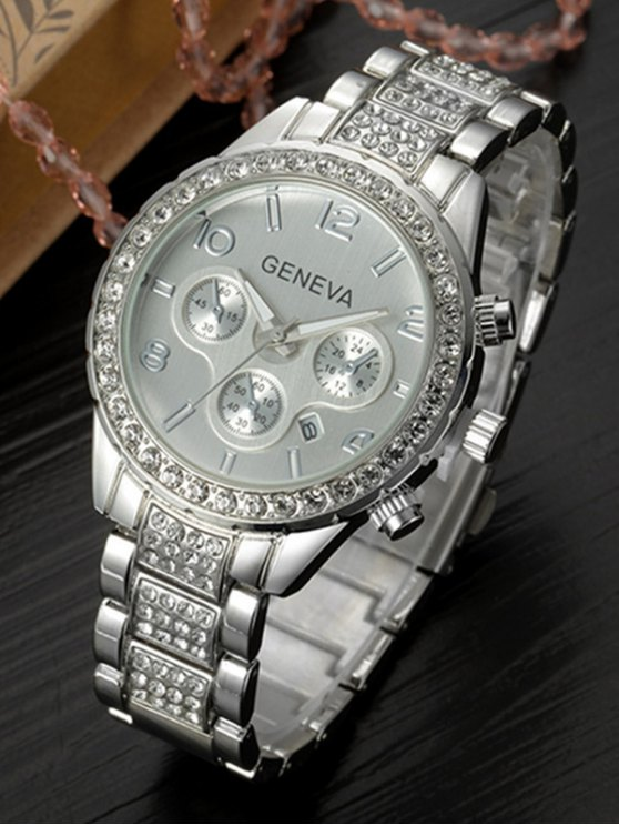 Rhinestoned Quartz Wrist Watch - SILVER  Mobile