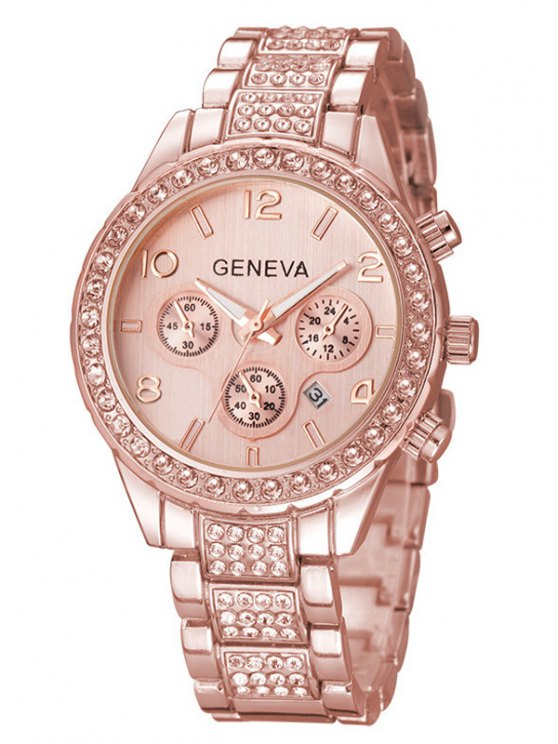 Rhinestoned Quartz Wrist Watch - ROSE GOLD  Mobile