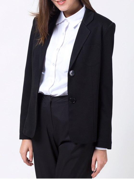 lady Back Slit Lapel Collar Blazer - BLACK S