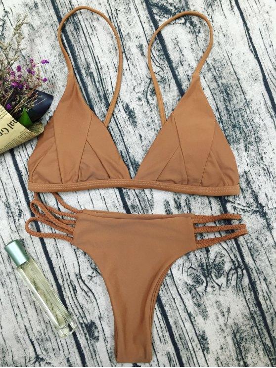 Traje de Bikini de Tirantes Finos con Relleno - Café S