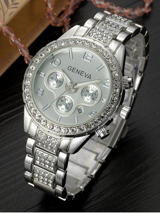 Rhinestoned Quartz Wrist Watch - SILVER  Mobile