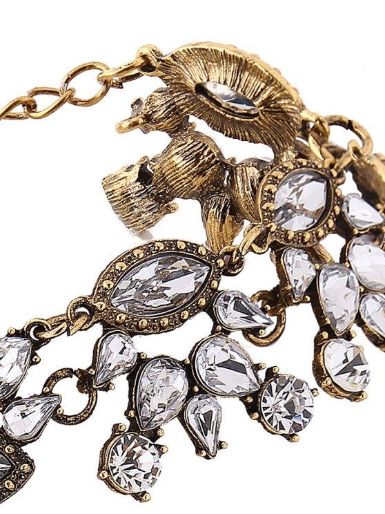 Rhinestone Pendant Statement Necklace - GOLDEN  Mobile