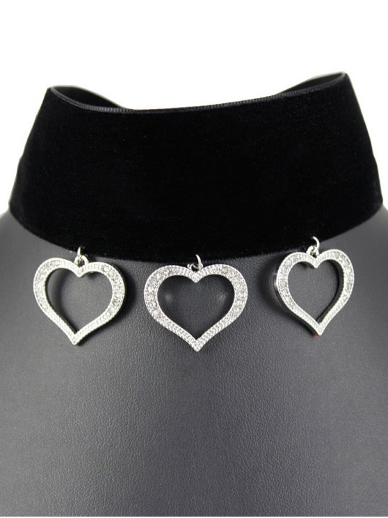 Hollow Heart Velvet Choker - BLACK  Mobile
