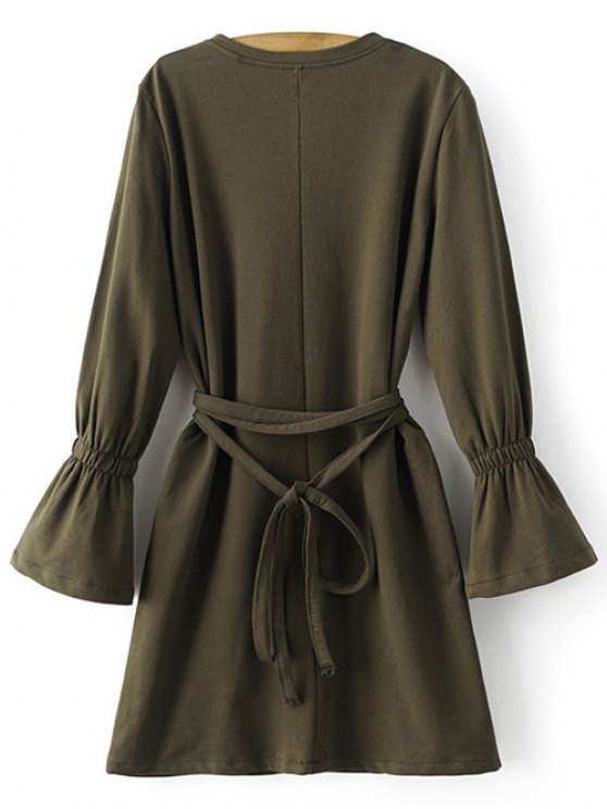 Bell Cuff Sleeve Tie Waist Dress - ARMY GREEN S Mobile