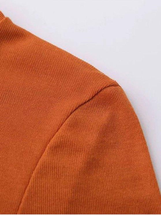 Funnel Neck Fitted Side Slit T-Shirt - BLACK L Mobile