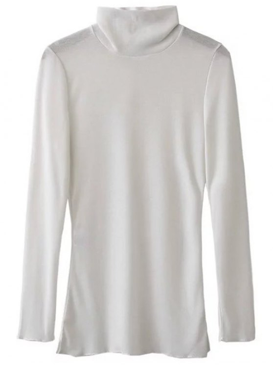 Funnel Neck Fitted Side Slit T-Shirt - WHITE S Mobile