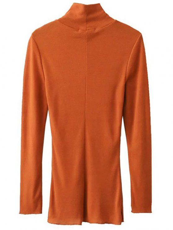 Funnel Neck Fitted Side Slit T-Shirt - ORANGE L Mobile