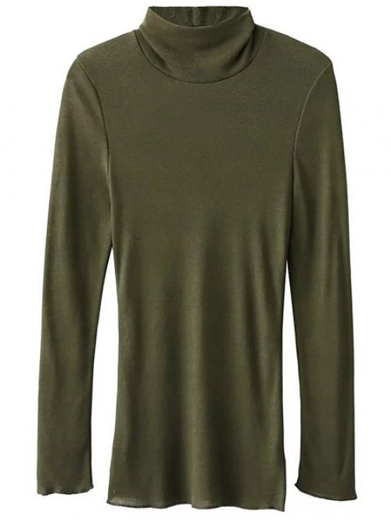 Funnel Neck Fitted Side Slit T-Shirt - ARMY GREEN M Mobile