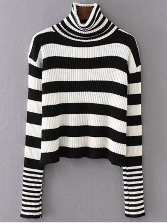 Funnel Neck Ribbed Striped Sweater - BLACK ONE SIZE Mobile