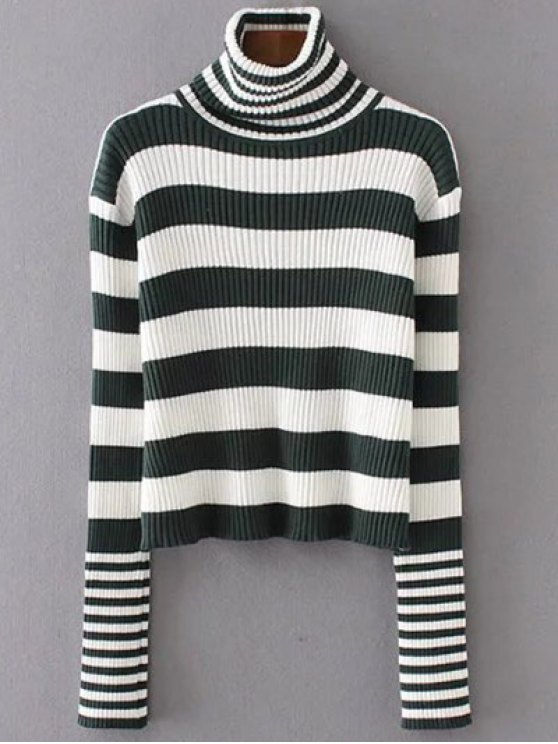 Funnel Neck Ribbed Striped Sweater - BLACKISH GREEN ONE SIZE Mobile