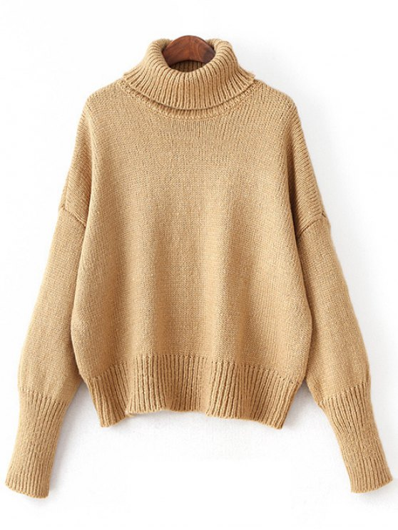 Roll Neck Oversized Jumper - KHAKI ONE SIZE Mobile