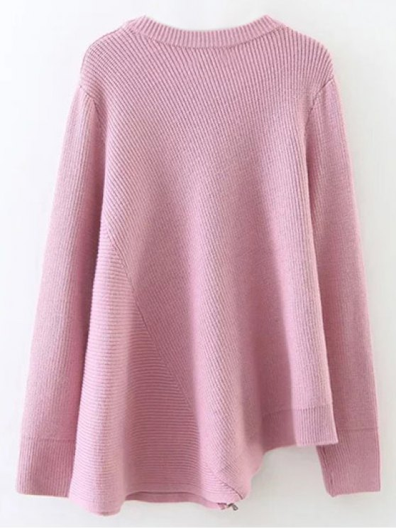 Asymmetric Zipped Hem Swing Sweater - PINK ONE SIZE Mobile