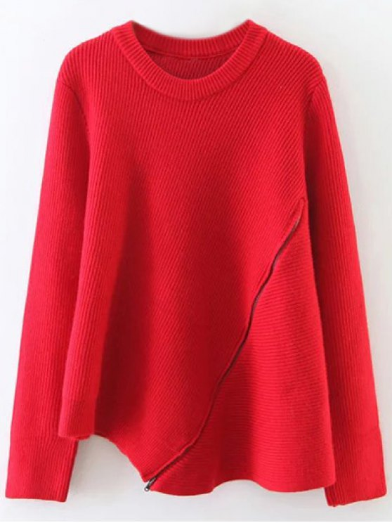 Asymmetric Zipped Hem Swing Sweater - RED ONE SIZE Mobile