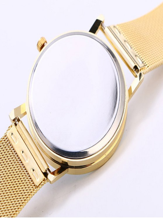 Metal Mesh Band Butterfly Analog Watch - GOLDEN  Mobile
