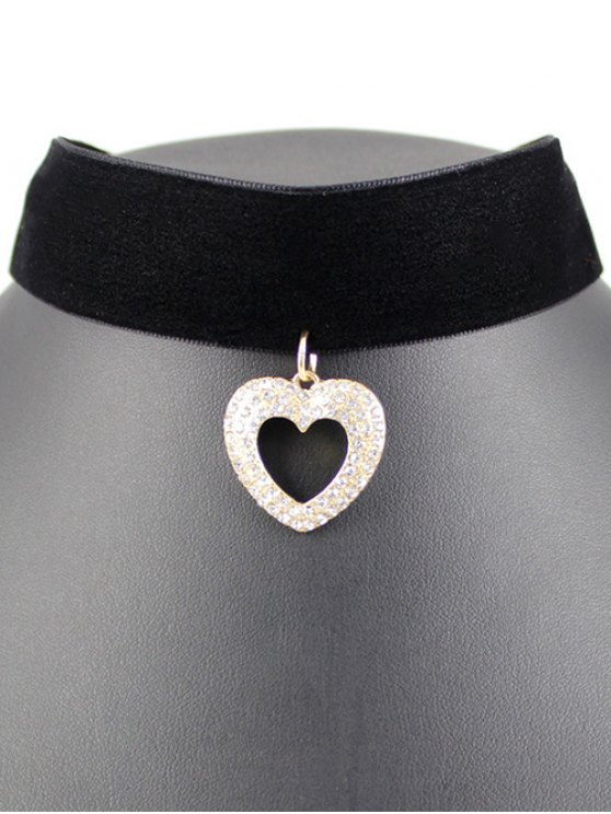 Hollow Out Heart Velvet Choker - BLACK  Mobile